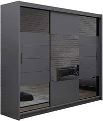 furniture24 eu kleiderschrank schwebetürenschrank schlafzimmerschrank aruba ii graphite 250 cm breit
