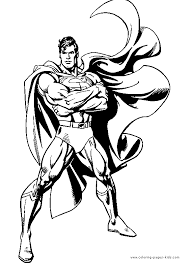 Superman Color Page Cartoon Characters Coloring Pages