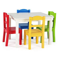 Tot Tutors Summit 5-Piece White/Primary Kids Table And Chair Set ...