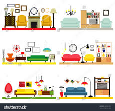Cartoon Living Rooms With Furniture Flat Style Vector Illustration