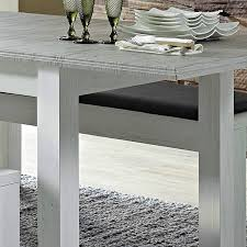 landhaus esszimmer tisch set in pinie weiß mit abs taupe leer 55 ausziehtisch mit 2 sitzbänken b h t ca 160 77 90cm
