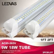 led integrated l light u shaped 9w 18w 1ft 2ft t8