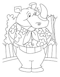 Smart Rhinoceros Coloring Pages