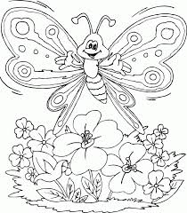 Butterfly Over Flowers Coloring Pages