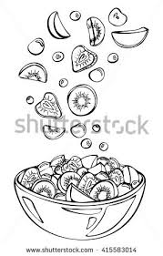 Vector sketch of summer salad Fruit salad ingre nts in the air Kiwi cherry