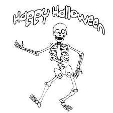 Happy Halloween Mr Skeleton Coloring Page