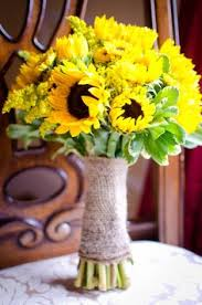 Rustic Hand Tied Bouquet Made From Sunflowers Viking Mums Salidago And Pit