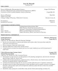 Pharmacist Resume Sample Beautiful Design Pharmacy Curriculum Vitae Dazzling 6 Templates Free Word Format