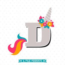 Letter D SVG Cut File Unicorn SVG Letter D Monogram SVG File
