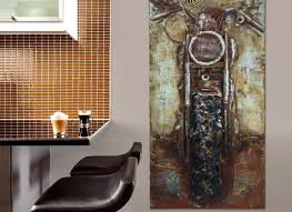 Steel Wall Art Motorcycle Garage Within Harley Davidson Home Decor