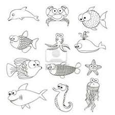 Illustration Of Fish And Blowfish Drawings Aquatic Animals Vector Art Clipart Stock Vectors