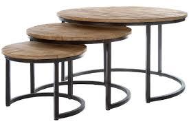 casa padrino luxus couchtisch 3er set naturfarben schwarz ø 78 x h 48 cm runde wohnzimmertische mit halbrundem metall untergestell