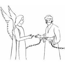 Peter And Angel Coloring Page