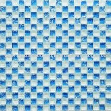 bathroom and kitchen cracked glass mosaic tile white and blue