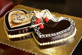 Group of Happy Birthday Chocolate Cake for Friend in Heart Shape