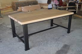 meuble industriel table de salle à manger en chêne massif m