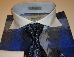 royal blue stylish tartan plaid dress shirt u0026 tie set fratello frv4119