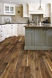 Great Idea Of Rustic Kitchen Floor With White Cabinet