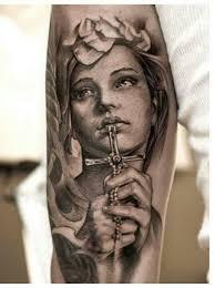 Catholic Virgin Mary Tattoo On Sleeve