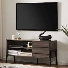 wat tv lowboard in holz für fernseher bis zu 55 zoll tv schrank mit schrank und 2 regalebenenmit fernsehtisch tv möbel 110cm für wohnzimmer büro