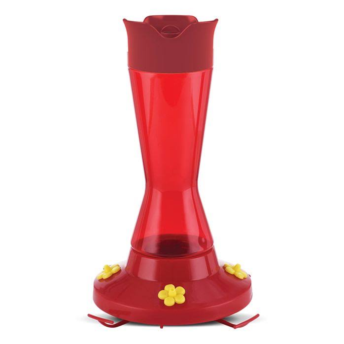 Perky Pet Pinch Waist Plastic Hummingbird Feeder - with Nectar, Red, 16oz