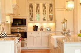 glass cabinet doors Kitchen Traditional with farm sink farmhouse