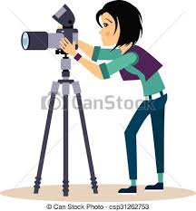 Girl grapher With Tripod In Flat Style Vector Illustration