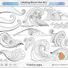 Making Waves Digital Stamps PNG Line Art shop Brushes Water Clip Art