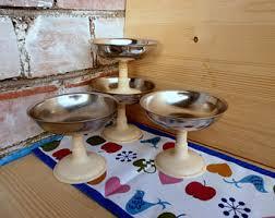Decorative Metal Dessert Serving Bowls Dinnerware Set Of Shabby Chic Soviet Union USSR Retro Kitchen