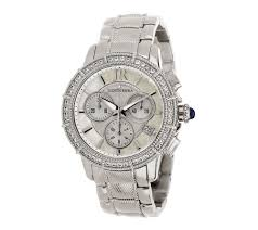Delancey Street Christmas Trees Oakland by Judith Ripka Stainless Steel Chronograph Textured Watch With