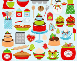 Christmas Baking Clip Art Holiday Baking Clipart Christmas Kitchen Cookies Cake Digital Vector Clip