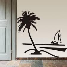 Beach Coconut Palm Tree Sailboat Wall Art Bathroom Glass Modern Mural 8499 Home Decor Large