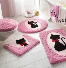 badematte mit katze pink rosa schwarz rot bad teppich neu ebay
