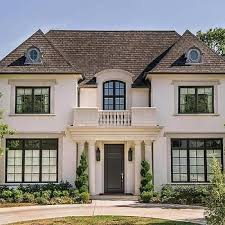 Stucco French Home With Balcony Transitional Exterior
