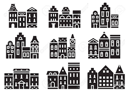 100 Townhouse Facades Europe Street And House Icons In Outline Design Scandinavian