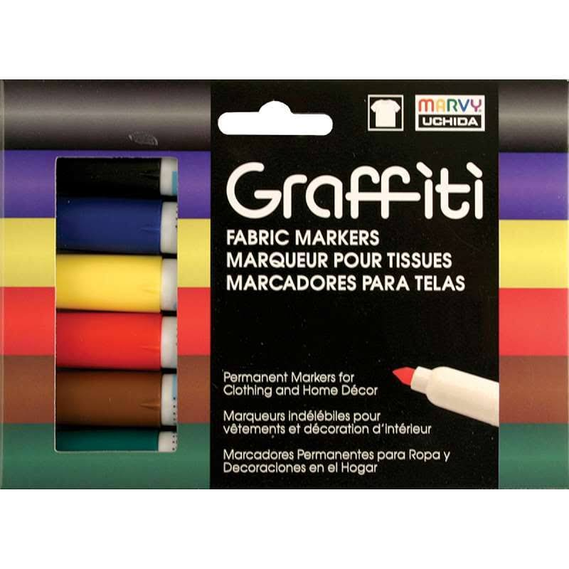Uchida Graffiti Fabric Marker - 6 Pack