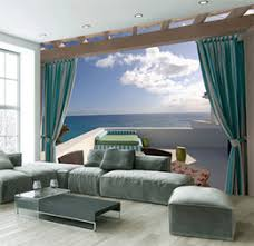 Custom Mural 3d Wallpaper Seaside Terrace Villa Home Decoration Painting Wall Murals For Living Room