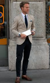 light sand colored blazer u0026 blue slacks gentlemen fashion