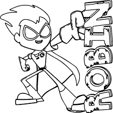 Teen Titans Coloring Pages Inside Robin