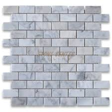 carrara white 1x2 medium brick mosaic tile polished marble from