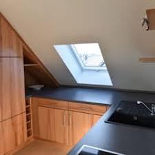 holzküche in kernbuche in der dachschräge kein problem