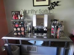 Hayworth Vanity With Mirror And Other Makeup Tools Before The Wheat Wall For Room Decor
