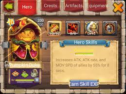 Castle Clash Pumpkin Duke Best Traits by Castle Clash Brave Squads