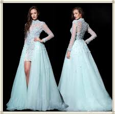 elegant sheer high neck see through back long sleeve prom dress