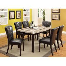 Marble And Espresso 5 Piece Dining Set