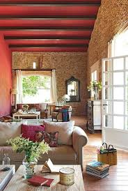 Rustic Living Room Design With Stone And Red Walls Ceiling