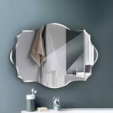 qjjml hängespiegel wand flurspiegel modern spiegel groß wandspiegel unregelmäßiger rahmenloser polierter wandspiegel für bad frisierkommode