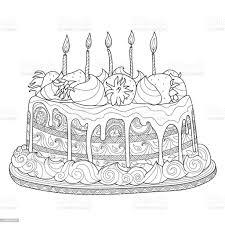 gezeichnet kuchen für malbuch stock vektor und mehr bilder ausmalen