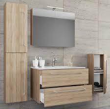 vcm 5 tlg waschplatz badmöbel badezimmer set waschtisch waschbecken schubladen keramik badinos spiegelschrank breite 60 cm sonoma eiche sägerau
