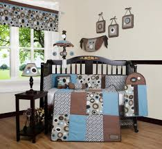 Brown And Blue Bedding geenny blue brown scribble 13pcs crib bedding set